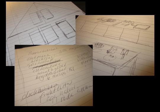 Lite ritningar till huset och köket.